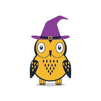 Búho de halloween con sombrero tarjeta de halloween