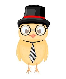 Búho inteligente en cilindro, corbata y vasos. tarjeta inteligente con un pájaro en el día del conocimiento. 1 de septiembre el símbolo del conocimiento. objetos aislados sobre fondo blanco. plantilla para texto.