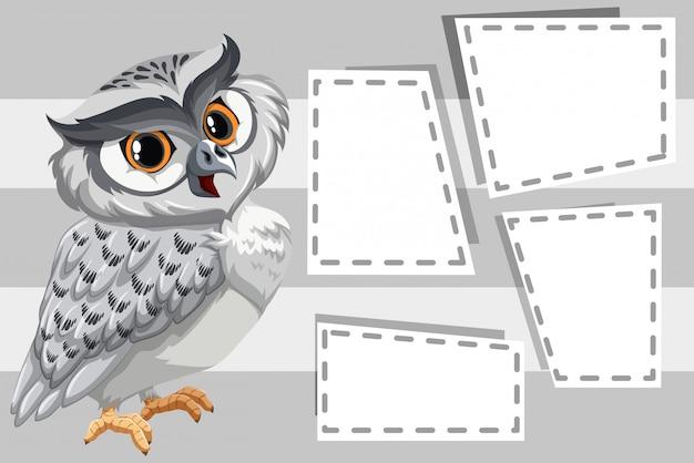 Búho en marcos en blanco con copyspace