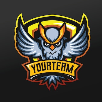 Búho con mascota de ceja amarilla ilustración deportiva para logo esport gaming team squad