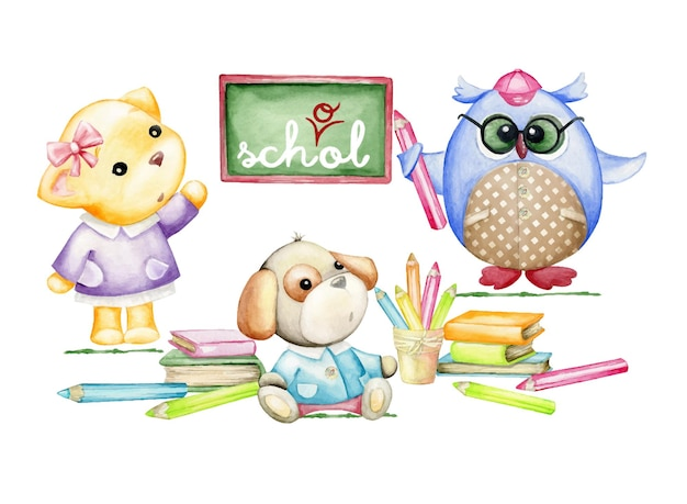 Búho, perro, gatito en la escuela. estilo de dibujos animados de acuarela