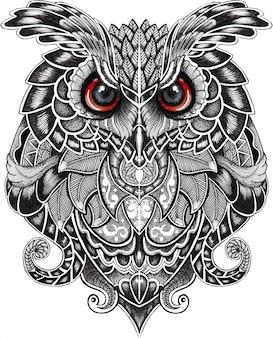 Búho real pájaro en estilo doodle
