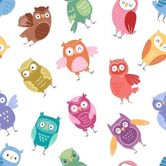 Búhos de dibujos animados lindo pájaro conjunto personaje de mochuelo de dibujos animados niños animal bebé arte para niños owlish colección sin fisuras de fondo
