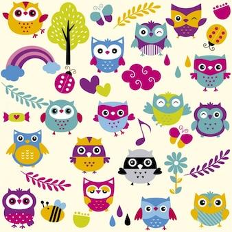 Búhos divertidos y coloridos