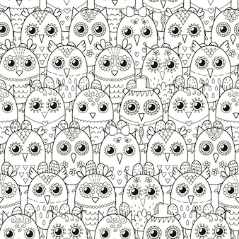 Búhos lindos de patrones sin fisuras.