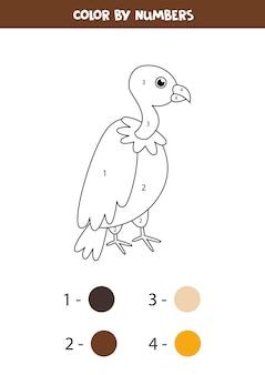 Buitre de dibujos animados lindo color por números. hoja de trabajo educativa para niños. página para colorear para niños en edad preescolar.