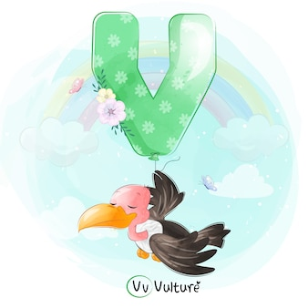 Buitre lindo volando con globo alfabeto-v