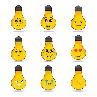 Bulbo personaje icono animación expresión triste feliz grito de amor idea sonrisa amarilla