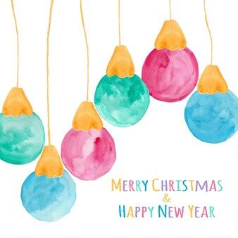 Bulbos de navidad acuarela como fondo