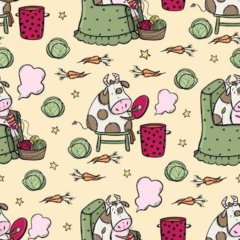Bull cocina sopa y tejidos comida vegetariana de patrones sin fisuras