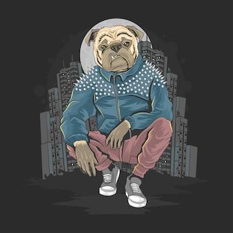 Bull dog, pit bull gangster en la ciudad ilustración