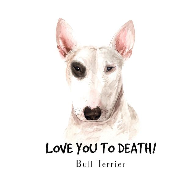 Bull terrier perro acuarela para imprimir.