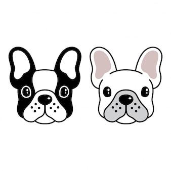 Bulldog cara de dibujos animados
