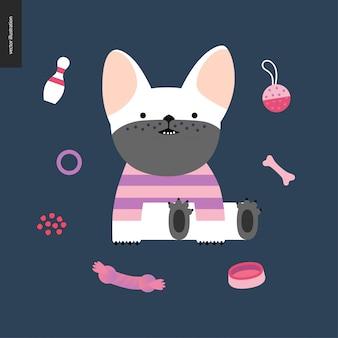 Bulldog francés de dibujos animados.