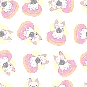 Bulldog francés perro de patrones sin fisuras
