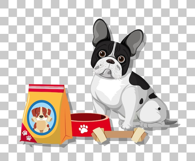 Bulldog francés en personaje de dibujos animados de posición sentada con comida para perros aislado sobre fondo transparente