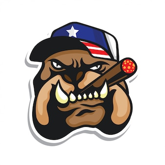 Bulldog head logo usa flag hat pegatina