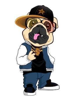 Bulldog hip hop mascota de dibujos animados