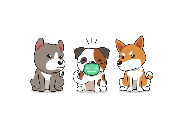 Bulldog de personaje de dibujos animados con mascarilla protectora con otros perros