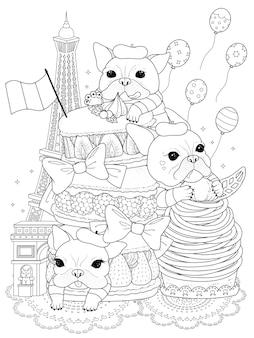 Bulldogs en blanco con pastelería francesa y edificios, para colorear