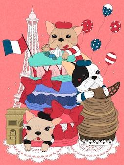 Bulldogs con pastelería francesa y edificios.