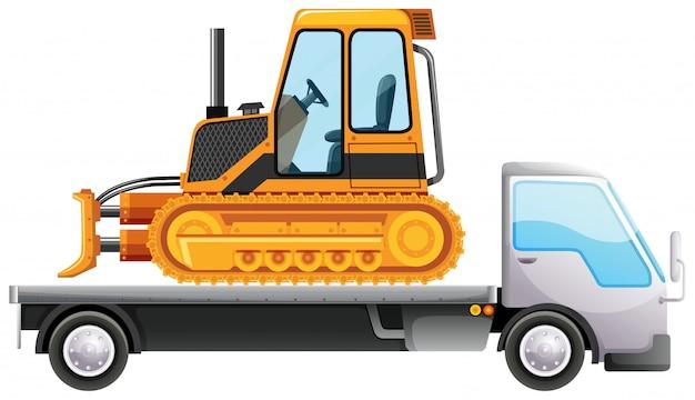 Bulldozer en camión de plataforma
