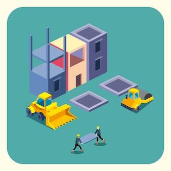 Bulldozer de construcción y diseño de icono de estilo isométrico de fábrica de remodelación de trabajo y reparación de tema