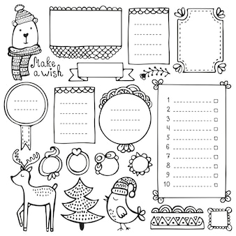 Bullet journal y elementos dibujados a mano de navidad para cuaderno, diario y planificador. marcos de doodle aislados