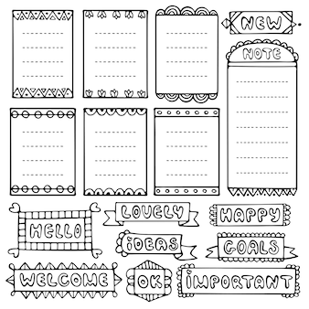 Bullet journal elementos vectoriales dibujados a mano para cuaderno, diario y planificador. conjunto de marcos de doodle aislado.