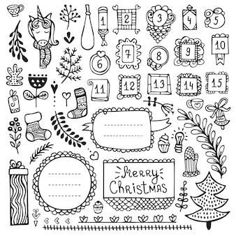 Bullet journal, navidad, año nuevo e invierno elementos dibujados a mano para cuaderno, diario y planificador. marcos de doodle aislados