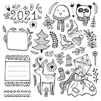 Bullet journal, navidad, año nuevo e invierno elementos vectoriales dibujados a mano para notebook