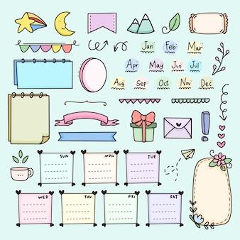 Bullet journal notes doodle set elemento con papel