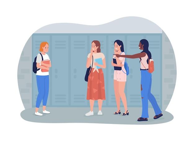 Bullying en la escuela 2d vector ilustración aislada