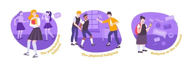 Bullying flat set redondo composiciones con texto y personajes de estilo de dibujos animados de niños acosados