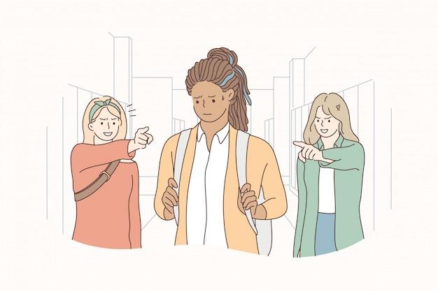 Bullying, violencia, concepto de racismo