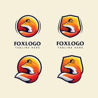 Bundle fox modern logo design template modern sport
