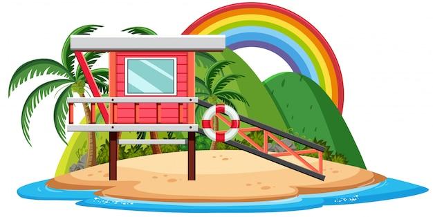 Bungalow en la isla tropical de dibujos animados sobre fondo blanco