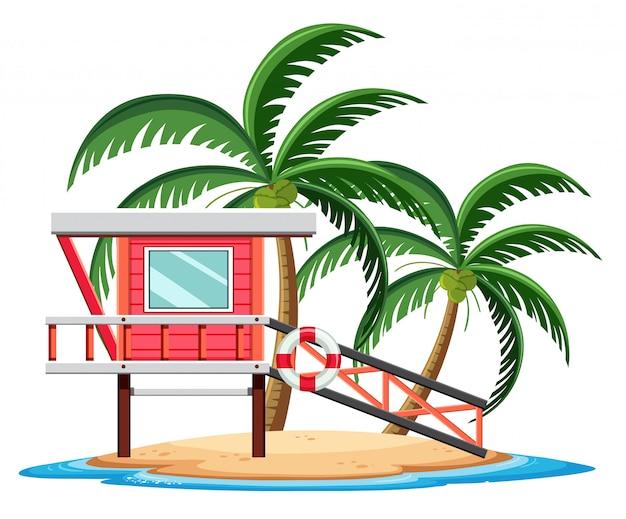 Bungalow rojo en la isla tropical de dibujos animados sobre fondo blanco.
