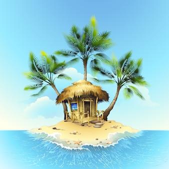 Bungalow tropical en isla en el océano