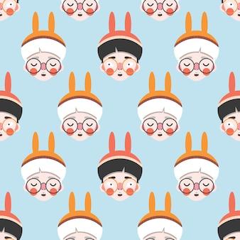 Bunnies boys personajes de dibujos animados en patrones sin fisuras