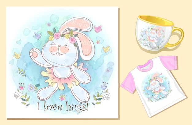 Bunny abrazo. hilarante tarjeta electrónica. imprimir en la taza y la camiseta.