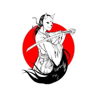 Bunny mask samurai girl simple line art