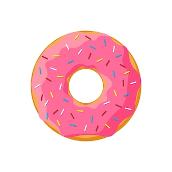 Buñuelo sabroso colorido de dibujos animados aislado sobre fondo blanco. vista superior de rosquilla esmaltada para decoración de cafetería o diseño de menú. ilustración vectorial plana