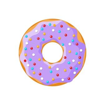 Buñuelo sabroso de dibujos animados aislado sobre fondo blanco. vista superior de rosquilla vidriada de color púrpura para la decoración de la cafetería de la torta o el diseño del menú. ilustración vectorial eps plana