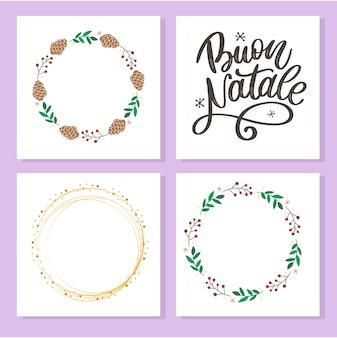 Buon natale, letras y tarjetas de felicitación en blanco con marcos de corona y círculo