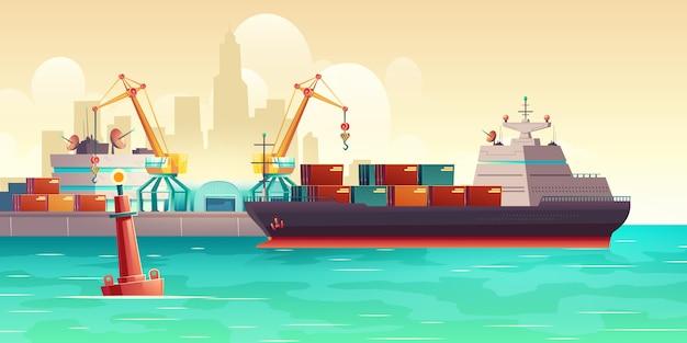 Buque de carga de carga en el puerto de dibujos animados ilustración