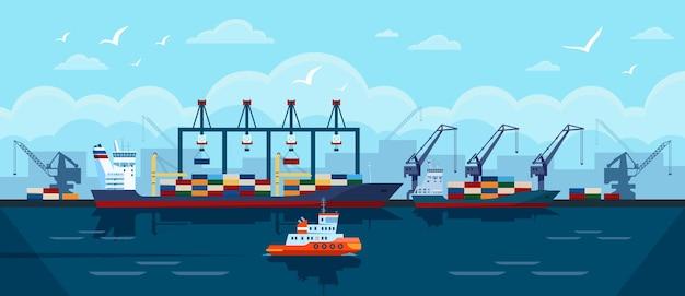 Buque de carga en contenedores de envío de buque de carga industrial del puerto atracado en el concepto de vector de puerto