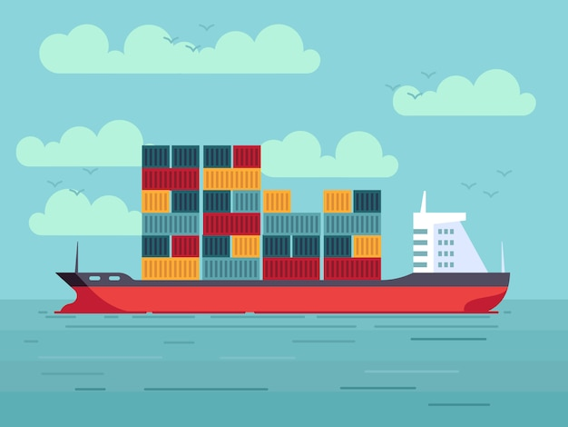 Buque de carga con contenedores en la ilustración del océano o el mar