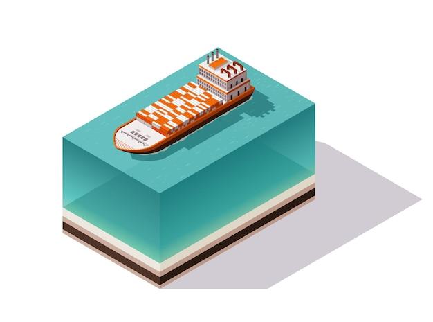 Buque de carga de contenedores isométricos. entrega en agua. transporte de carga de envío.