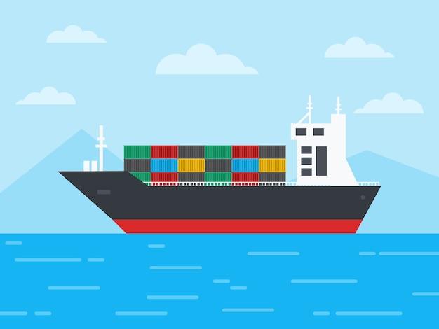 Buque de carga de contenedores en el océano y navegar a través de los icebergs, concepto de logística y transporte, ilustración.